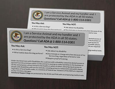 Pack of ADA Info Cards