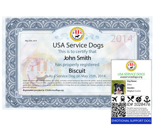 picture regarding Printable Ada Service Dog Card identified as Sign up Psychological Services Pet dog, ESA Registration United states of america