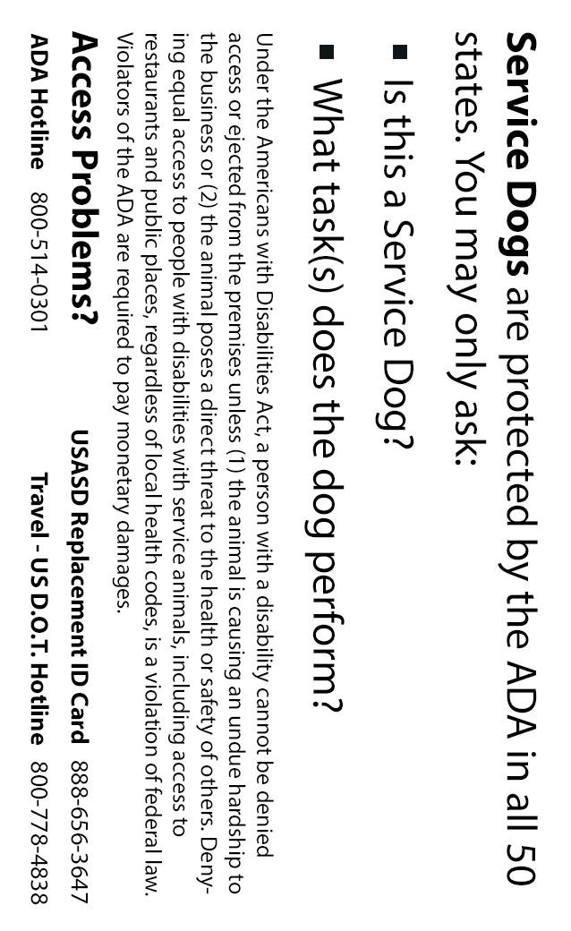 service dog id card sample usa service dogs. Black Bedroom Furniture Sets. Home Design Ideas