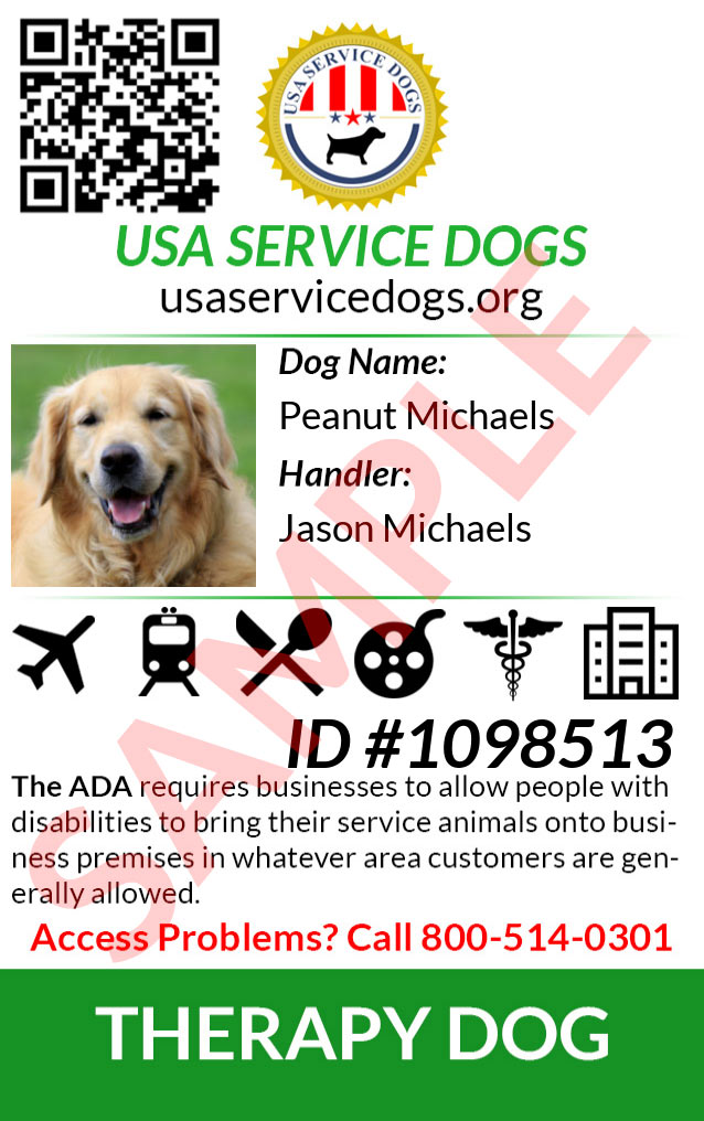 Emotional Support Dog ID Card Front